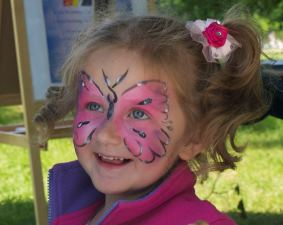 Clare's Circus Calne Chippenham Butterfly on Girl's Face